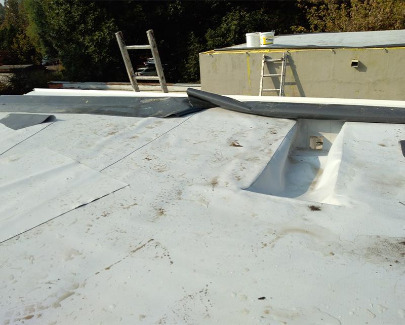 Slika prikazuje radove na krovovima